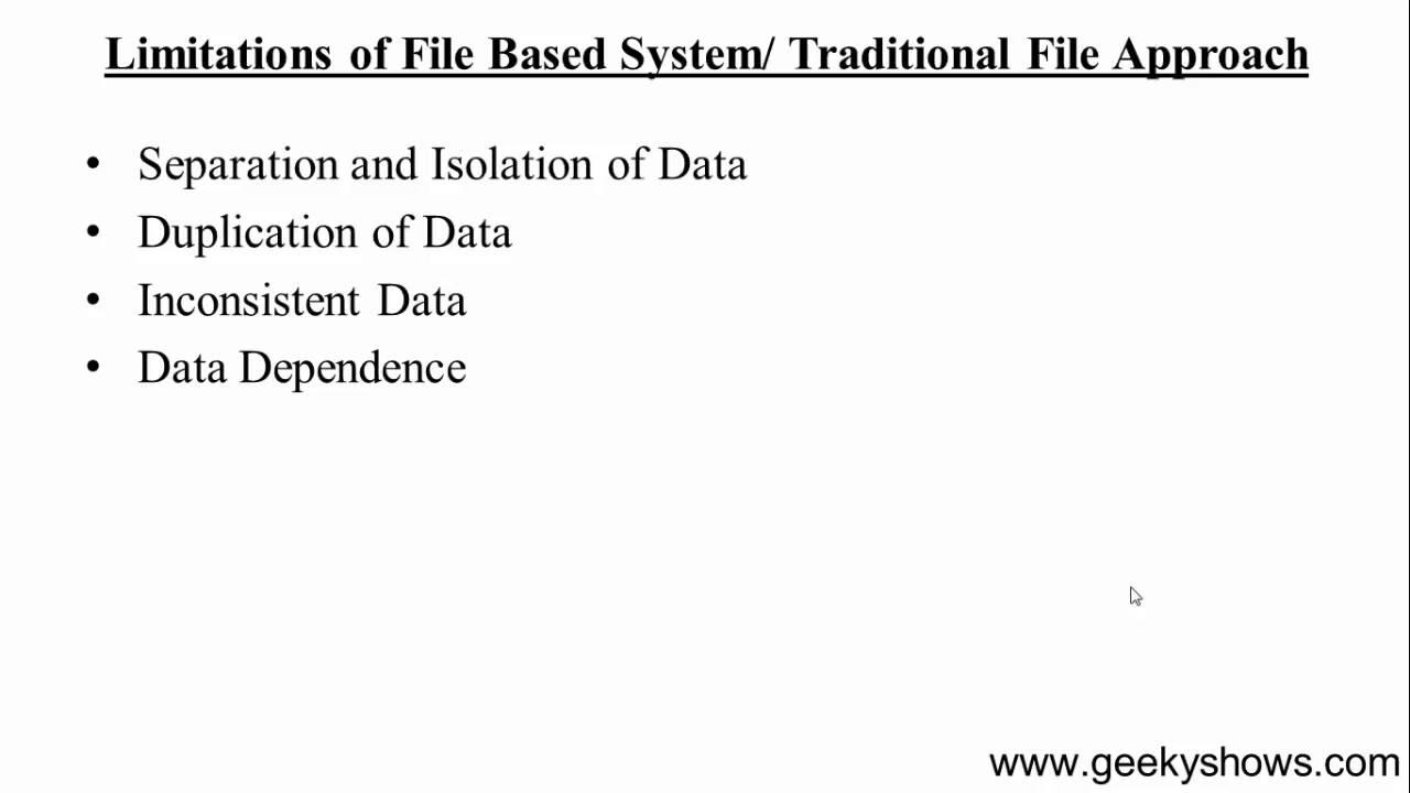 6 Limitation Of File Based System Hindi Youtube