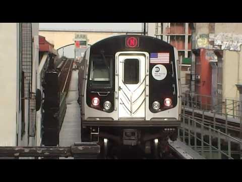 BMT Astoria Line: R160A/R160B Alstom/Siemens N/W Trains@Astoria Boulevard