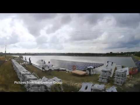 Godley reservoir floating solar panels