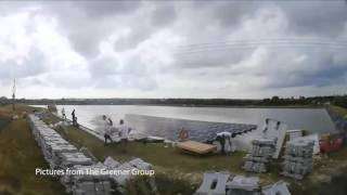 Godley reservoir floating solar panels