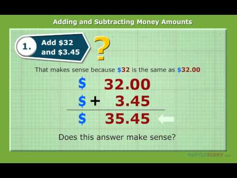 Adding And Subtracting Money | Turtlediary