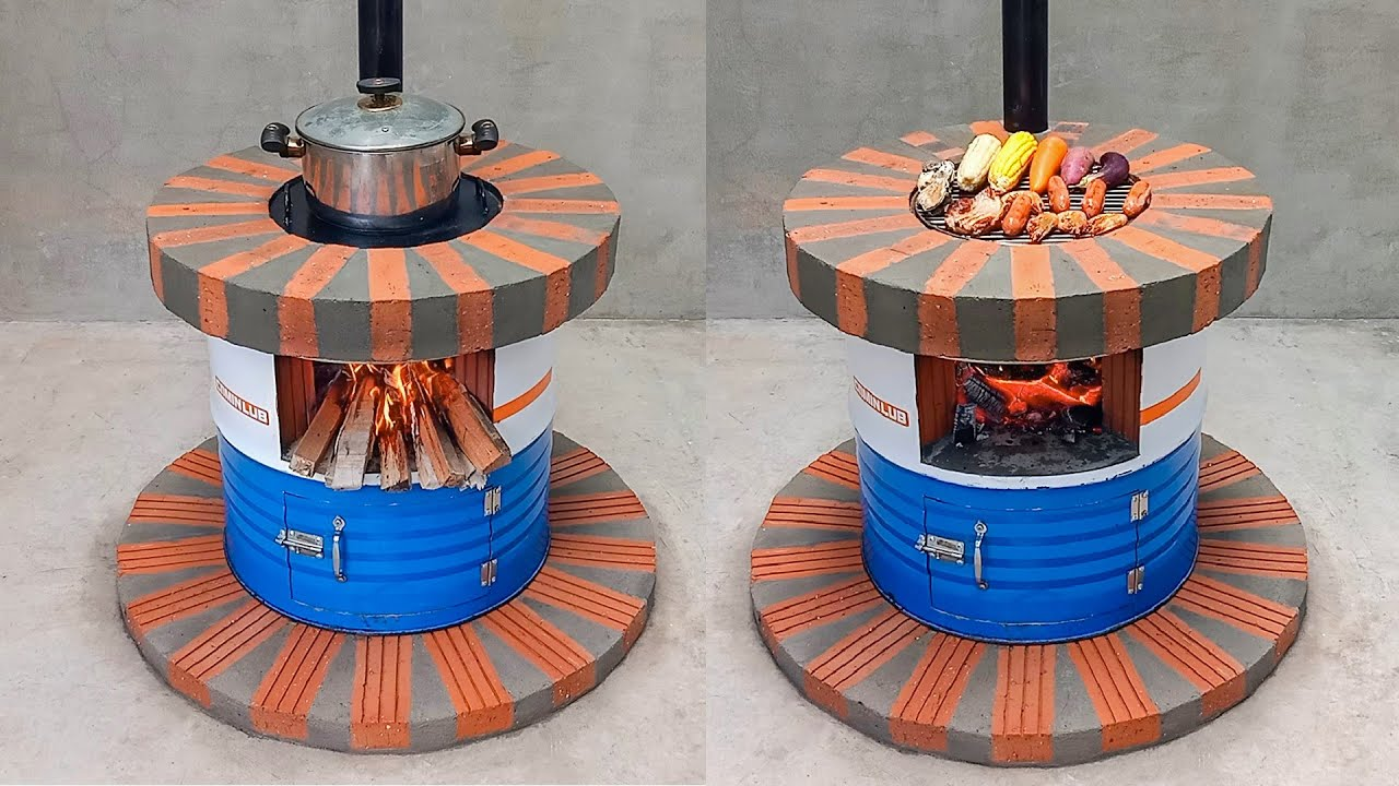 Download Super beautiful multi-function wood stove _ Creative ideas from iron drums and red bricks