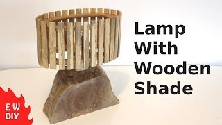 Solid wood lamp with wooden shade.