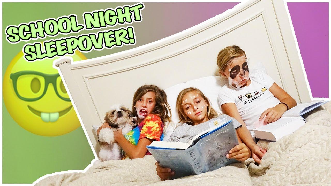 SCHOOL NIGHT POOL PARTY SLEEPOVER | WHO IS THE CREEPY PANDA?!