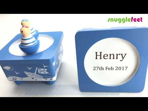 Personalised Pirate Blue Wooden Music Box - 1st Birthday Gift Ideas