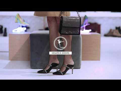 Mari Kadın Topuklu Ayakkabı Siyah Taşlı Deri