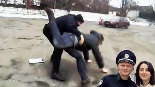 Полицейская тварь жестоко избила водителя