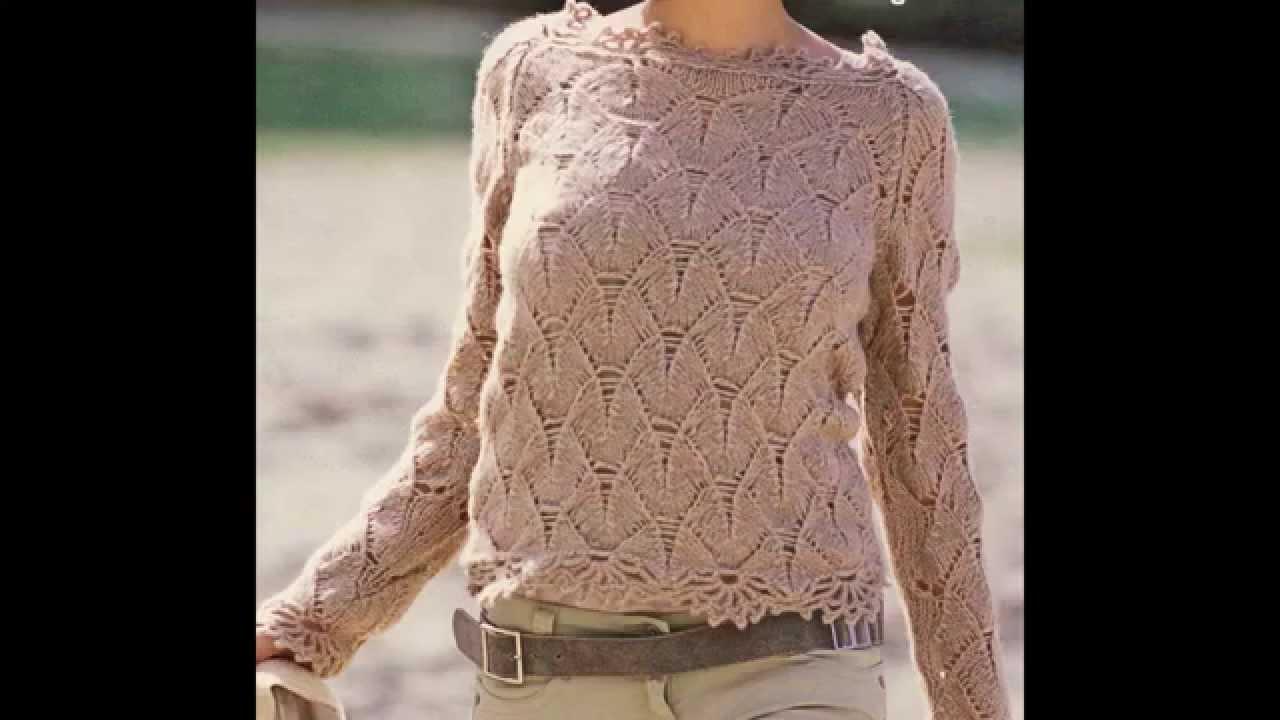 Sueter Tejido A 2 Agujas Con Puntilla A Crochet Youtube