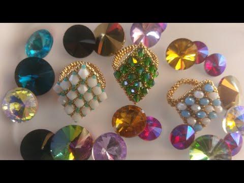 Tutorial anillo en biconos de cristal y mostacillas paso a paso