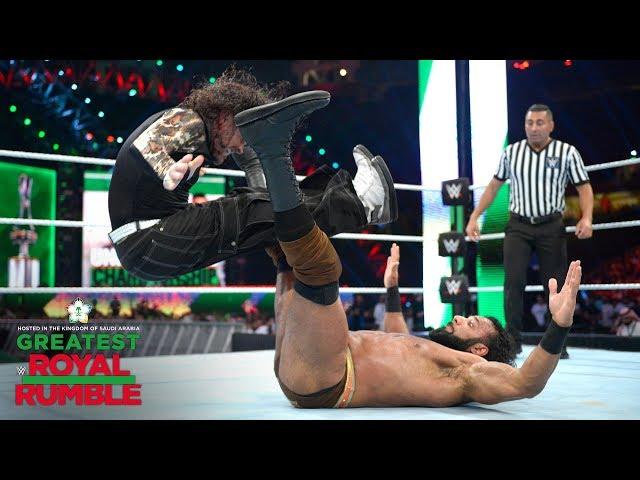 Jeff Hardy's double leg drop hits Jinder Mahal where it hurts: Greatest Royal Rumble (WWE Network)