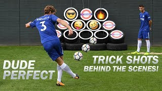 Dude Perfect Trick Shots  Exclusive Behind The Scenes with Morata Alonso Cahill Courtois  Luiz