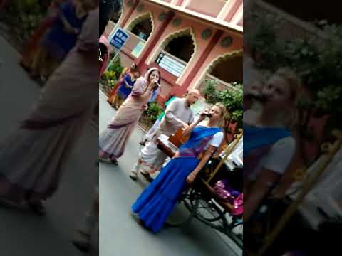 Foreigners singing HARE Krishna Hare Ram at Iskcon temple mayapur