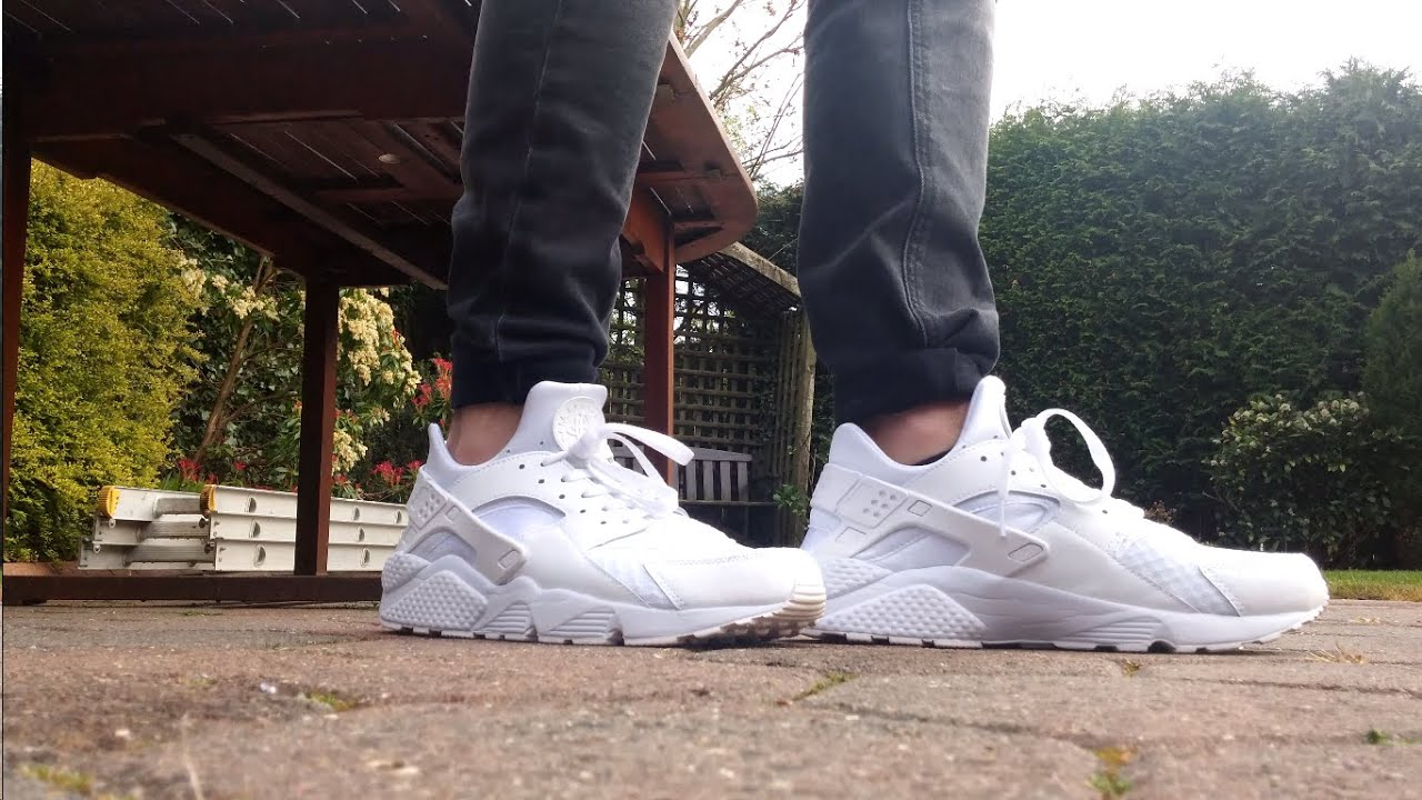 Nike Air Huarache Triple white Pure platinum On,feet look 👟