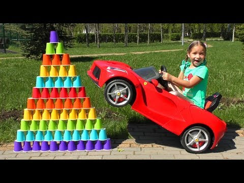 Kids Pretend Play With Colored Cups and Sofia Ride On POWER WHEEL Сhildren's Сar
