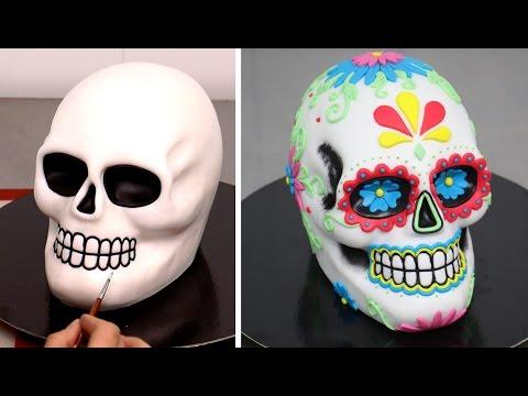 Sugar Skull Cake -  Day of The Dead Cake by CakesStepbyStep
