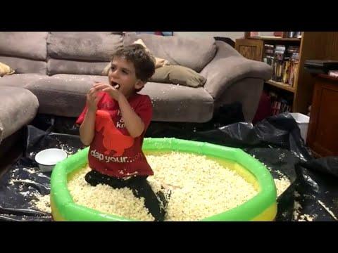 Pool of Popcorn Birthday Surprise    ViralHog