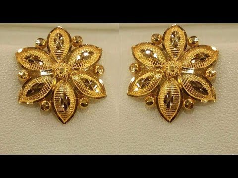 Pure Gold Ear Studs Earrings New Designs Collection