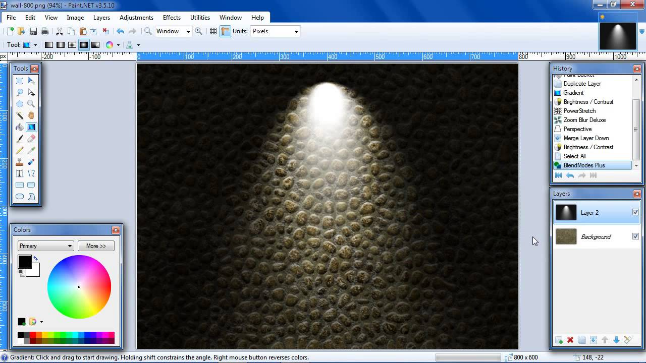 Paint net wall light effect youtube for How to light a painting on the wall