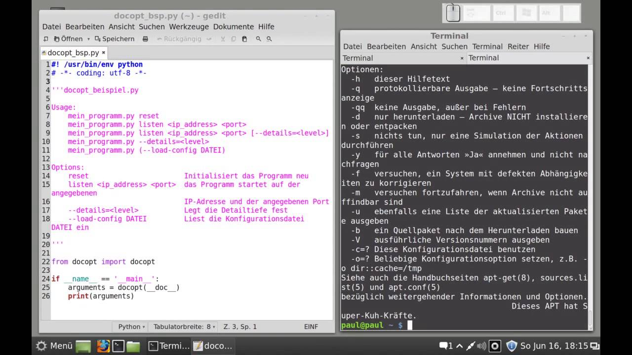 Python-Programmierung - docopt - Installation