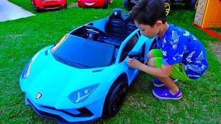 [30분] 예준이의 전동 자동차 장난감 놀이 포크레인 중장비 소방차 오토바이 타요버스 Video for Kids Power Wheels Car Toy