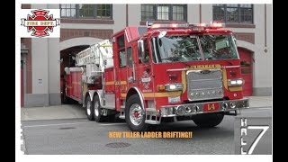 *Tiller Drift* Seattle Fire Department - *NEW* Ladder 4 Responding