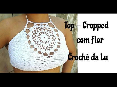Top-Cropped com Flor em crochê