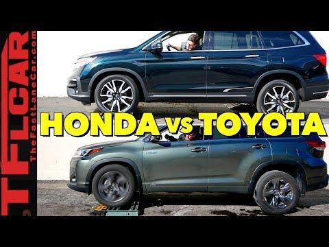 2019 Honda Pilot vs Toyota Highlander Hybrid AWD vs the TFL Slip Test