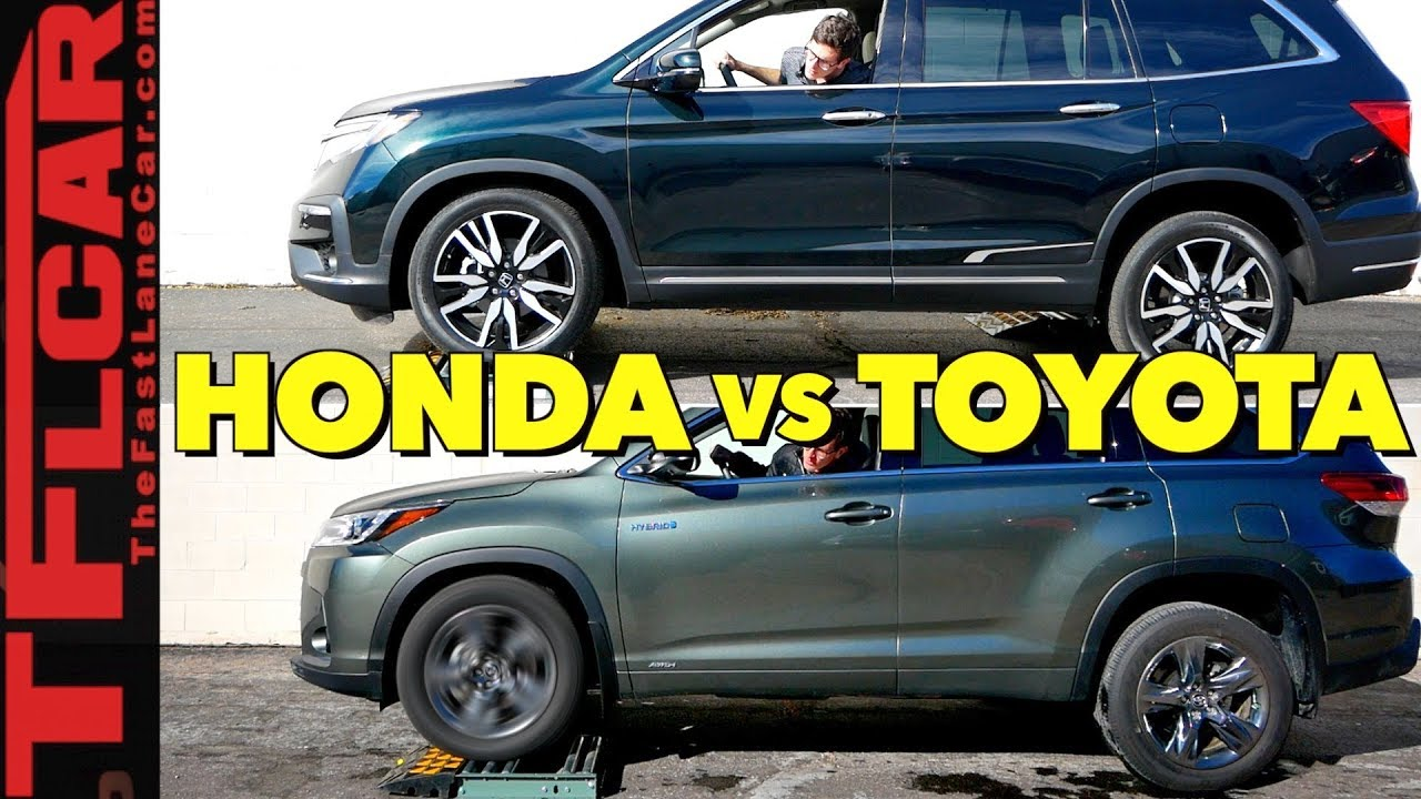 Pilot Vs Highlander >> 2019 Honda Pilot Vs Toyota Highlander Hybrid Awd Vs The Tfl Slip Test