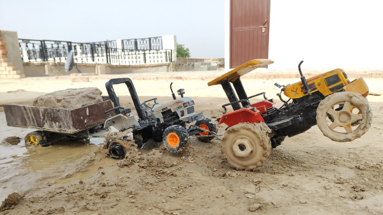 Eicher 557 Tractor and Trolley with Swaraj 885 Tractor model in Field Part-2