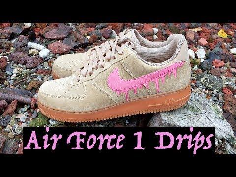 "a1aabe16ac88 How to  Nike Air Force 1 Ivory CUSTOM ""Pink Drips"" W  On-Feet - YouTube"