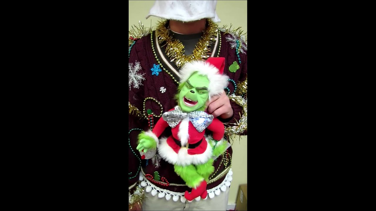 light up bow tie talking grinch ugly christmas sweater mens size l for sale - Grinch Ugly Christmas Sweater