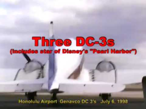 "Three DC-3 Gooneybirds at Honolulu Airport in 1998 includes ""N36"" blown up in Disney"