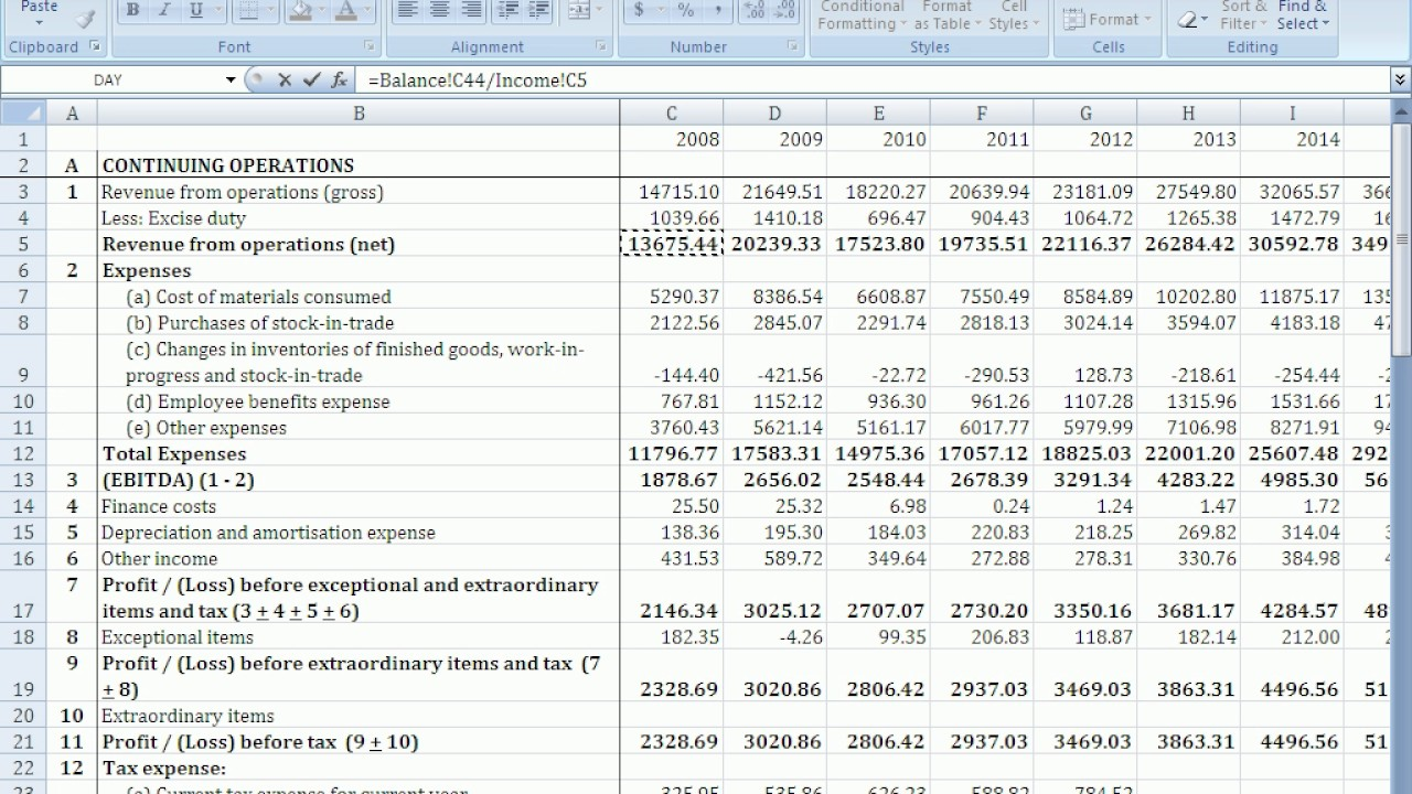 forecast cash flow statement