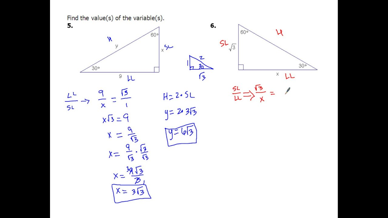 7 4d Solving 30 60 90 Special Right Triangles