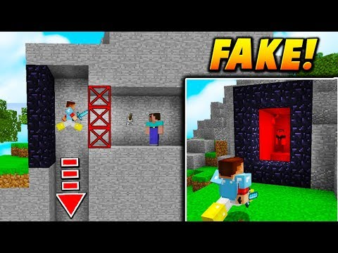 FAKE NETHER PORTAL TRAP! - Minecraft SKYWARS TROLLING (INVISIBLE FALL!)