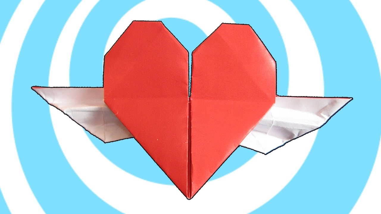 Origami Heart with Wings Instructions 💕 - YouTube - photo#39