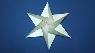 Easy Origami star. 3D Paper star 6 point. Ideas for Christmas decorations. #TransparentPaper
