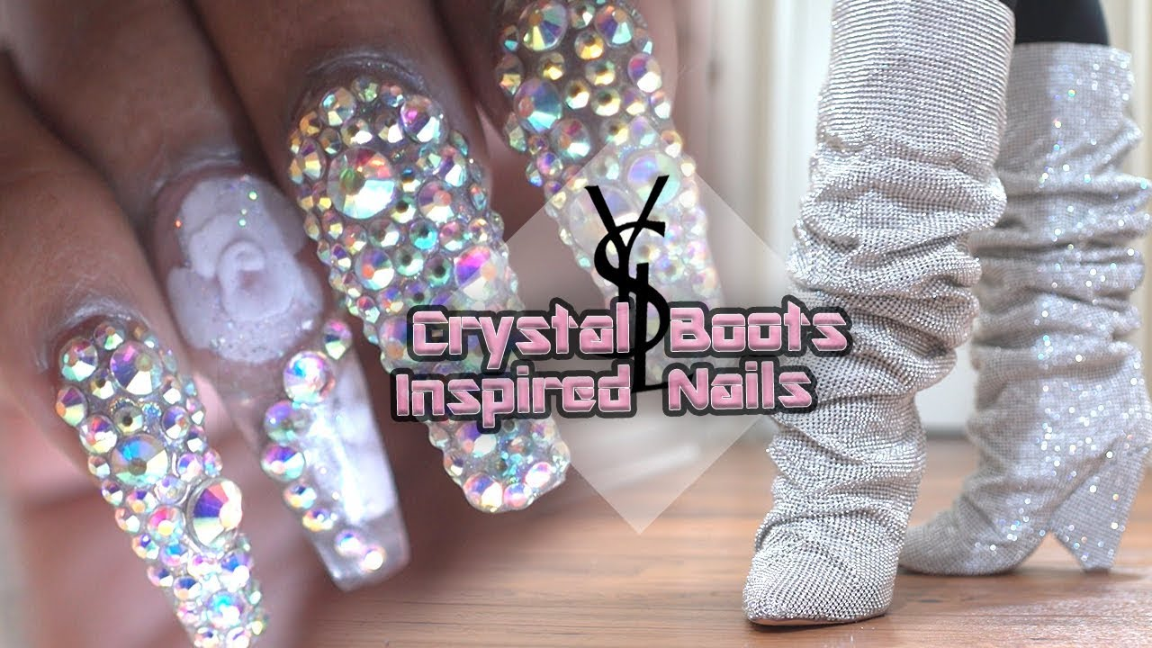 $10,000 YSL Crystal Boots Inspired Extreme Bling Acrylic Nails ...