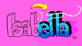 Como Dibujar y Colorear el Nombre ISABELLA en un Graffiti - Draw and Color Names - Easy Art