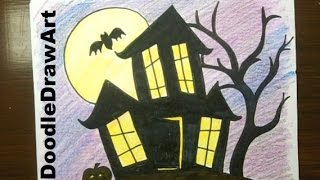 Drawing: How To Draw a Haunted House, step by step - easy!