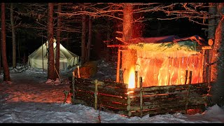 Winter Camping For 5 Days!! -  Hot Tent and Super Shelter