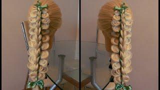 Коса из шести прядей две из которых ленты.Видео-урок
