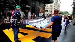 USA: Trump supporters protest BLM mural outside Trump Tower in NYC