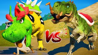 Jurassic World Evolution🌍 Bowser,Yoshi Ceratosaurus,Dragon I-Rex,Pikachu T-Rex,Luigi Fight!!!