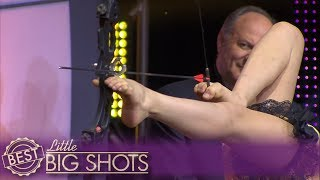 Little Big Shots | Girl Contortionist Uses Her Feet For Archery!