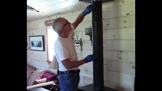 Easy, No Mess Cleaning of Wood Stove Chimney without going on the Roof ~ DIY