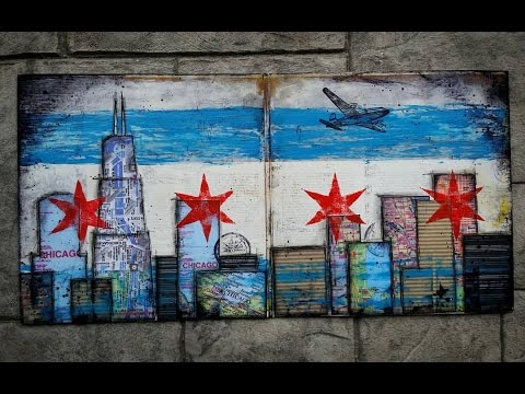 Chicago Skyline/Flag - Mixed Media Project - Upcycled Art
