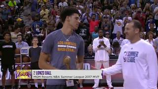Lonzo Ball Accepts 2017 MGM Resorts Summer League MVP Trophy
