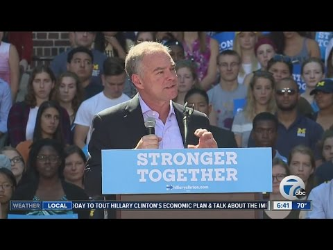 Democratic Vice Presidential candidate Tim Kaine visiting Detroit today