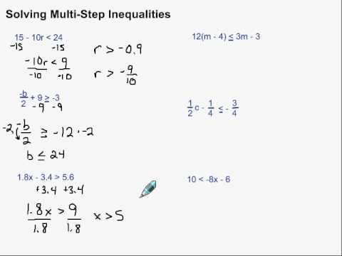 Solving Multi Step Inequalities Youtube